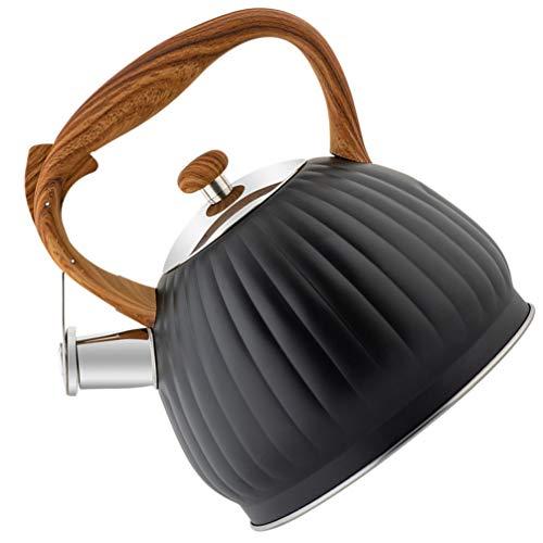 Cabilock 3. Chaleira com apito de 5 L para fogão, chaleira de aço inoxidável com cabo de madeira, caldeira de chá preta para café e chá