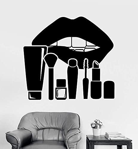 Vinyle Sticker Mural Lèvres Maquillage Cosmétiques Salon De Beauté Autocollants Vinyle Amovible Décor À La Maison Diy Stickers Nail Shops 56X61Cm