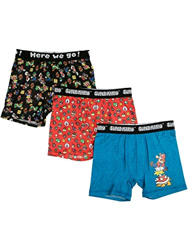 Super Mario Bros 3-Pack Boxer Briefs for Boys (Large (Size 10))
