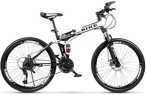 SEESEE.U Bicicleta de montaña para Hombre, Bicicleta de montaña de 26 Pulgadas Bicicleta de 21 velocidades Frenos de Disco Dual Bicicleta de montaña Plegable Antideslizante de suspensión Completa BIC