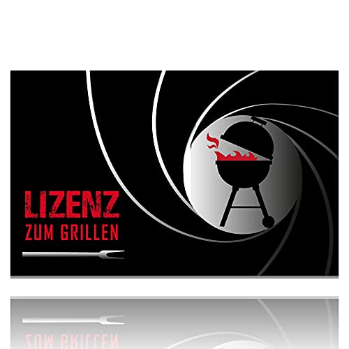 LILENO HOME Grill u. BBQ Matte (75 x 120 cm) Lizenz zum Grillen - als perfekte bodenschutz Unterlage für Gas u. Holzkohlegrill - Grillunterlage Bodenschutzmatte für Grillabend auf der Terrasse