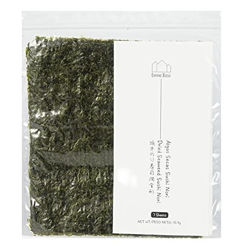 Sushi Nori Algas (7 hojas) – Joven y crujiente | Grado superior | Ligeramente tostadas | Alto en proteínas y fibra | Bajo en grasas saturadas