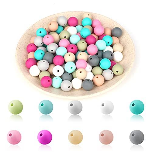 KINBOM 100 Piezas Cuentas de Silicona Bebe Bolas Silicona Multicolores Cuentas Espaciadoras Redondas Accesorios Hacer Joyas Kit de Pinzas Chupete para Cordones Collar Pulseras Joyería DIY (12 mm)