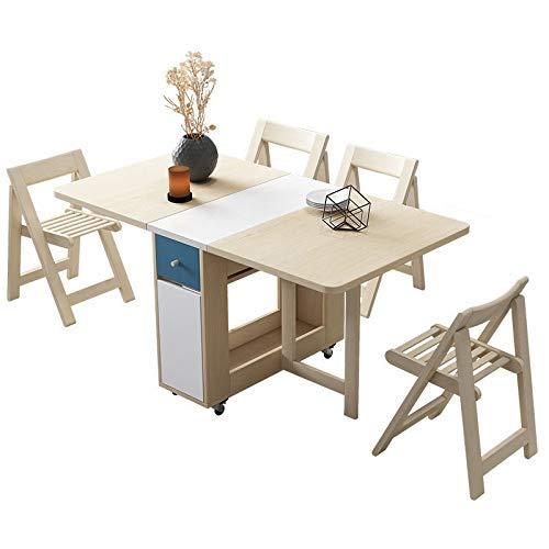AOIWE Juego de mesa de comedor plegable de 1,5 m, madera maciza, muebles de cocina de madera maciza, pequeño apartamento, mesa de mesa de comedor (color: mesa+4 sillas)