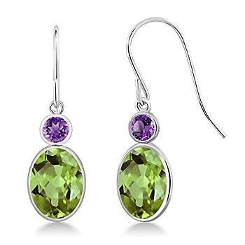 Gem Stone King 2.86 Ct Oval Green Peridot and Purple Amethyst 14K White Gold Women s Earrings