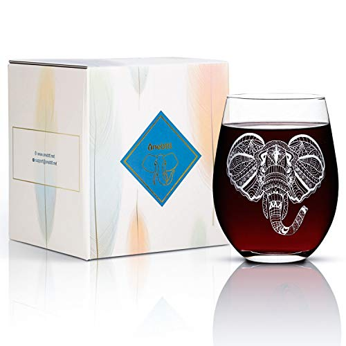 Onebttl wijnglas olifant met cadeaukaart, 17 oz glas/rode wijnglazen zonder steel, cadeau voor vrouwen/mannen in Kerstmis, verjaardag