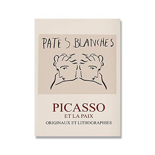 Pintura de arte de pared Picasso Matisse, carteles e impresiones nórdicos de flores de niña abstracta, pintura de lienzo sin marco familiar A5 15x20cm
