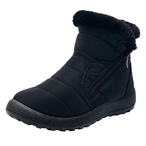Dorical Damen Schneestiefel Winterschuhe wasserdichte Ankle Boots Winter Warm Gefüttert Snowboot Damenstiefel Gr 35-43(Schwarz,37 EU)