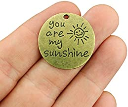 4 Sunshine Charms Antique Bronze Tone - You are My Sunshine - BC1632