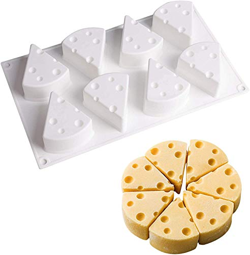 Cheese Shape Silicone Mold, DIY Home Kitchen Silicone, Cake Baking Tray Dessert Mousse Cake Mold, Chocolate Ice Cream Jelly Dessert Molds (8-CavityNon stick, 3D Cheese Mold)