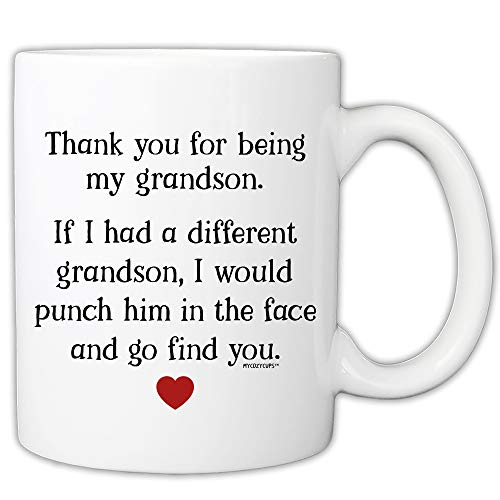 MyCozyCups Taza divertida para nieto – Thank You For Being My Grandson - Taza de café de 325 ml de la abuela, el abuelo