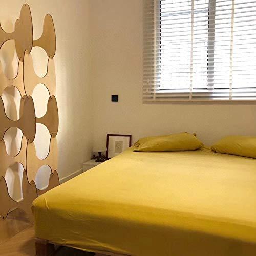 EstampadodeCamaSábana,Sábanas ajustables de algodón de punto de color sólido,el protector de colchón de la casa de familia del hotel del dormitorio es una cama doble individual yellow 150 * 200cm