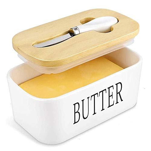 Butter Dish, Airtight Butter Container with Bamboo Lid, Large Capacity, Perfect To Keep Your Butter Soft, Butter Keepers Easily Fits 2 Sticks Of Butter