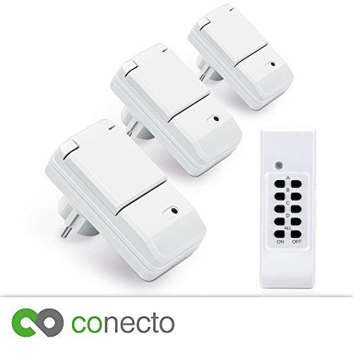 conecto Funksteckdosen Komplett Set Starterkit für Außenbereich IP44 (4-Kanal, Selbstlern-Funktion, 3X Outdoor Funksteckdose, 1x Fernbedienung) weiß