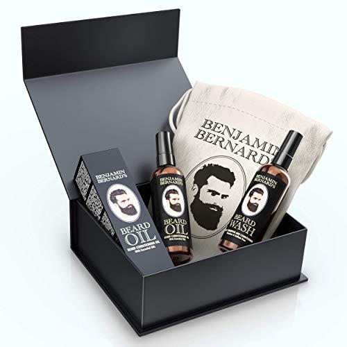 Beard Oil and Wash Grooming Kit by Benjamin Bernard - Hair and Skin Care Moisturiser Oil With Jojoba, Castor, Avocado - Beard Shampoo For Smooth Growth, Thickening, Fresh Fragrance - Gift Set For Men