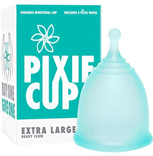 Pixie Cup - Ranked 1 for Most Comfortable Menstrual Cup and Best Removal Stem - Every Cup Purchased One is Given to a Woman in Need! (Extra Large)
