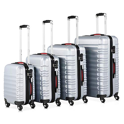 Monzana® Baseline 4er Set Koffer |Silber S, M, L, XL|Gelgriffe Zahlenschloss| Reisekoffer Trolley...