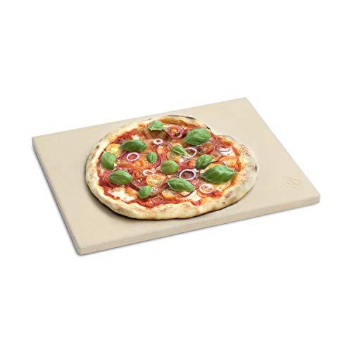 BURNHARD Pierre à Pizza rectangulaire 38 x 30 x 1.5 cm en cordierit pour Le Four et Barbecue, idéal pour la Pizza et Le Pain Faits Maison, Ainsi Que la Tarte flambée