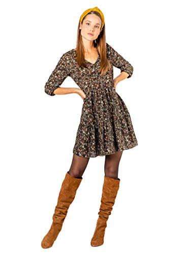 Sublevel Damen Kleid mit Blumen-Muster Langarm Herbst Frühling Green S/M