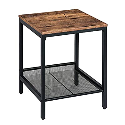 HOOBRO End Table, Industrial Nightstand with Flat or Slant Adjustable Storage Shelf, Side Table for Living Room, Easy Assembly, Wood Look Accent Furniture with Metal Frame, Rustic Brown BF11BZ01