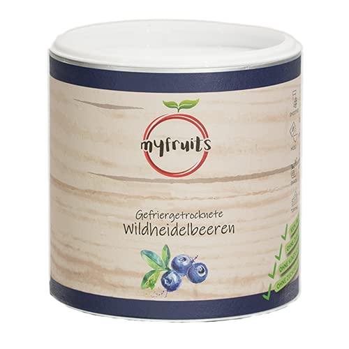 myfruits® Wildheidelbeeren - gefriergetrocknet - ohne Zusätze, zu 100% aus Heidelbeeren, Zutat für Müsli oder Porridge (100g)