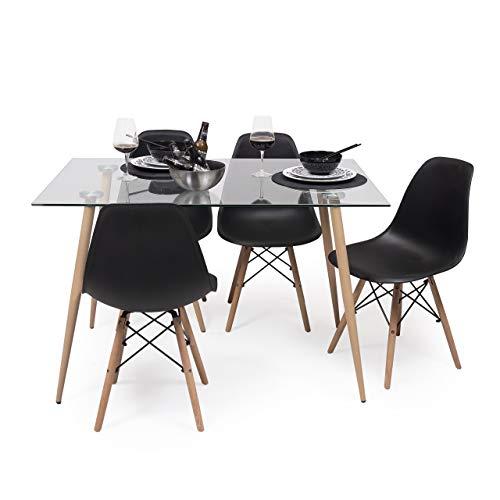 Conjunto de Comedor de diseño nórdico Cairo Tower Mesa de Cristal 120x80 cm y 4 sillas Tower (Negro)
