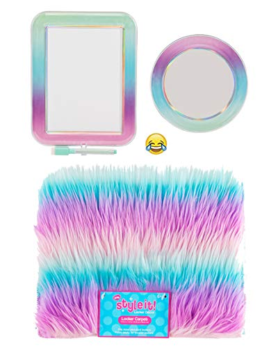 School Locker Organizer Kit - Accessories and Decoration Set with Rug Mirror and Message Board Ombre Stripe