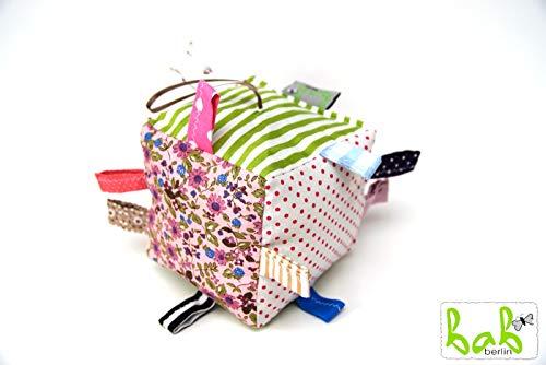 Stoffwürfel mit Rassel für Babys, Spielwürfel, auch als Set mit Schmusetuch, Wärmflasche, Strampelsack oder Babydecke