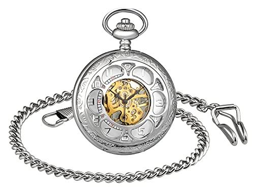 SUPBRO Reloj de bolsillo para hombre y mujer, analógico, con agujero, reloj de cadena, reloj de bolsillo con collar, suéter, cadena digital, plata,