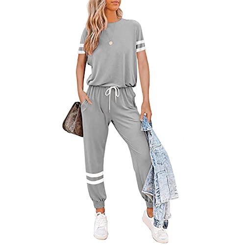 Litthing Conjunto Chándal de Mujer Chandal Completo 2 Piezas Deporta Ropa de Manga Corta y Pantalones Mujer Casual para Yoga Set Suave y Cómodo (Gris, M)