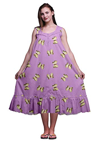 Bimba Lavendel Schmetterlinge ärmelloses Nachthemd für Damen Nachtwäsche aus Baumwolle mit Baumwolldruck Large