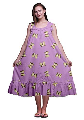 Bimba Lavendel Schmetterlinge ärmellose Baumwoll-Nachthemden für Frauen bedruckten Wäsche in mittlerer Wadenlänge XX-Large