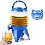 Faltbarer Wasserbehälter - Faltbares Beer Fässchen,Wasserspender,Tragbarer Faltbarer Wasserträger Faltender Bierfass,Eimer mit Wasserhahn TAP BPA-freier für Wohnmobil Camping Outdoor (Blau-5.5L)