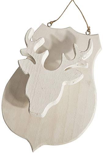 CHICCIE Statua di cervo in legno bianco, 30 cm, con testa di cervo