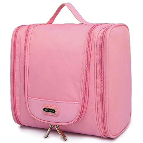 Hanging Travel Toiletry Bag for Women Girls, Travel Cosmetic Makeup Kit Organizer for Toiletries Accessories Large (Pink)
