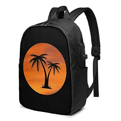 XCNGG Palm Tree Business Laptop School Bookbag Mochila de Viaje con Puerto de Carga USB y Puerto para Auriculares de 17 Pulgadas