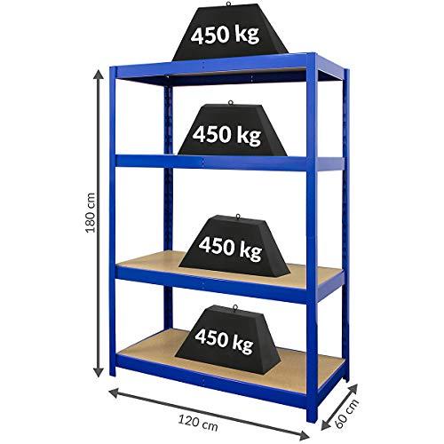 Certeo Stabiles Schwerlastregal | HxBxT 180 x 120 x 60 | 450 kg pro Fachboden