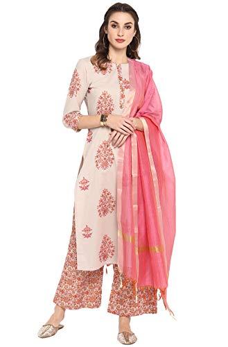 Janasya Women's Multicolor Pure Cotton Kurta with Palazzo and Dupatta (SET172-KR-PP-XL)