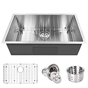 YSSOA Undermount Workstation Kitchen Sink 16 Gauge Single Bowl Stainless Steel with Accessories  Pack of 3 Built-in Components  32-Inch Silver