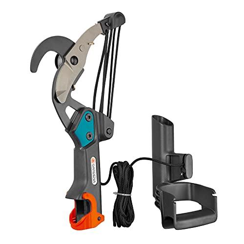 GARDENA Combisystem 298-20 - Tijera de pértiga, tijera cortarramas con transmisión de rodillos quíntuple para ramas de hasta 35 mm de diámetro, resistente cable de tracción de 4,7m y mango en D