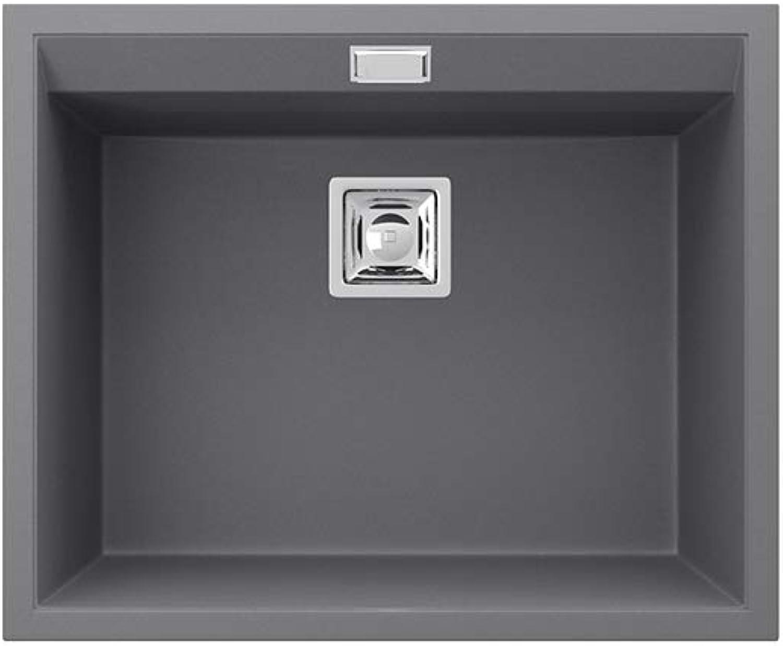 Bergstrm Granitspüle Delicia inkl. Siphon Küchenspüle Einbauspüle (550x450mm, Grau)