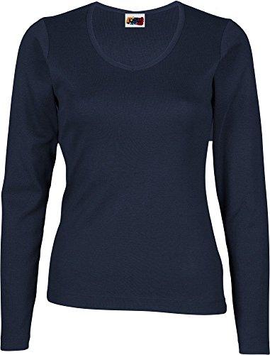 Camiseta Manga Larga Mujer 100% ALGODÓN Azul Marino (L)