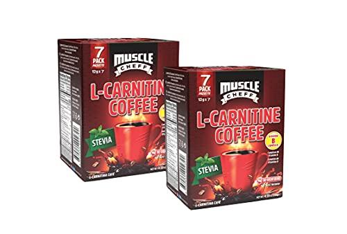Muscle Cheff L-Carnitine Coffee Sachets, Vitamin B, Sugar Free,0.42 oz x 7 Pack (2 Box)