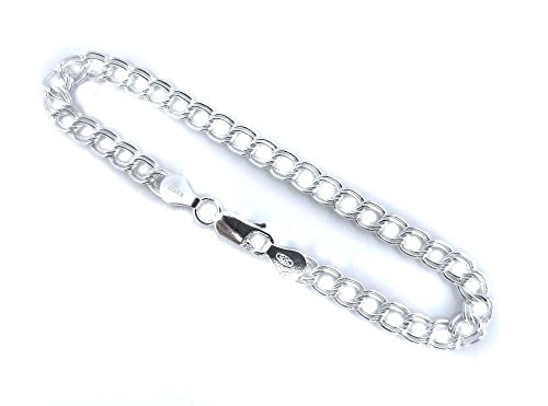 5mm Double Link Charm Bracelet. Italian .925 Sterling Silver. 6,7,8 inches. (6 Inches)