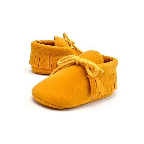 Morbuy Baby Schuhe, Niedlich Baby Säugling Kind Junge Mädchen weiche Sohle Kleinkind Schuhe Quaste Gummiband (6-12 Monate/12CM/4.72 inches, Erdiges Gelb)