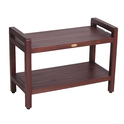 Decoteak Eleganto Ergonomic Teak Shower Stool with Lift Aid Arms and Shelf, 29', Brown