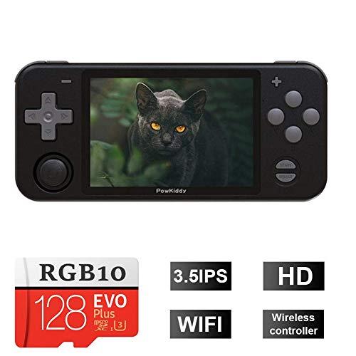 TAPDRA Nueva Consola de Juegos Retro RGB10 Pantalla IPS de 3,5 Pulgadas Fuente Abierta 128G Tarjeta SD incorporada 27000+ Juegos (Negro)