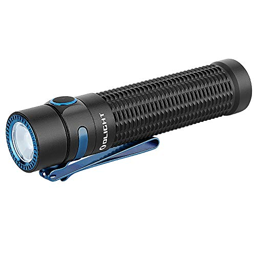 OLIGHT Warrior Mini Tactical Rechargeable Flashlight, Max 1500 Lumens 190m Throw Powerful Dual Switch LED Torch with 3500mAh 18650 Battery for Household Search, Outdoors Hunting and Rescue (Black)