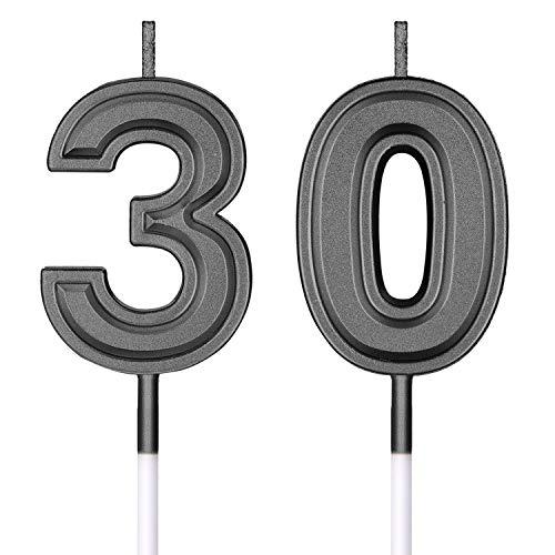 30. Geburtstag Kerzen Kuchen Nummer Kerzen Alles Gute zum Geburtstag Kuchen Topper Dekorationen für Geburtstag Hochzeit Jahrestag Feier Zubehör (Schwarz)