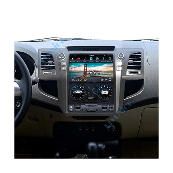 Flyunice 12.1 Inch Android 8.1 IPS Screen Tesla Style 6 Core 4GB RAM Car Stereo Radio Head Unit for Toyota Fortuner Revo 2004-2015 Auto A/C Built-in Carplay GPS Navi Bluetooth Multimedia Player 4